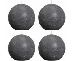 Bolsius Candela Sfera Rustica 100 mm Grigio carbone set di 4 pezzi