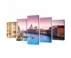 vidaXL 5 pz Set Stampa su Tela da Muro Venezia 200 x 100 cm