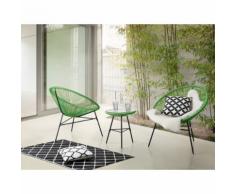Beliani Set di 2 sedie verdi e tavolino da caffè stile spaghetti ACAPULCO