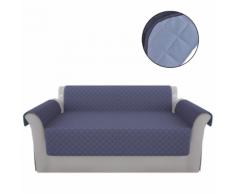 vidaXL Fodera protezione divano in microfibra blu e azzurro