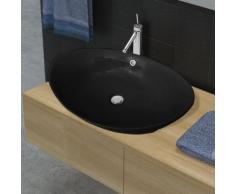 vidaXL Lavandino Ceramica Ovale Nero con Foro di Scarico 59 x 38,5 cm