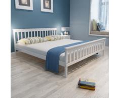 vidaXL Letto in legno robusto di pino 200 x 180 cm bianco
