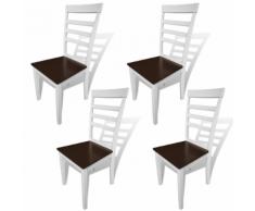 vidaXL Set 4 Sedie da pranzo in legno solido bianco e marrone
