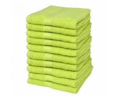 vidaXL Set 10 pz Asciugamani cotone 100% 500 gsm 30 x 50 cm verde mela