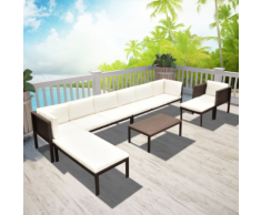 vidaXL Set da Giardino 24 pz. in Poly Rattan Marrone