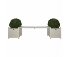 Esschert Design CF33W 2 Fioriere con panchina a ponte bianco