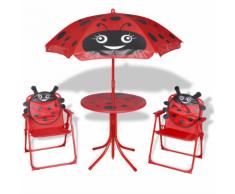 vidaXL Set mobili da giardino per bambini 4 pezzi rosso