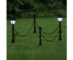 vidaXL Set Lampioncino solare a LED con catena 2 lampade pali