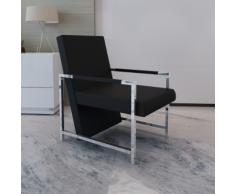 vidaXL Poltrona cubo nera di alta qualità con piedi in cromo
