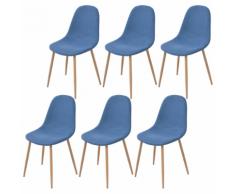 vidaXL 6 Pz Sedie per Sala da Pranzo in Stoffa Blu