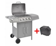 vidaXL Grill BBQ a Gas 4+1 Fornelli Argentato