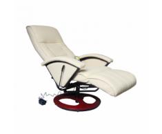vidaXL Poltrona relax massaggio lusso Isa, reclinabile,crema