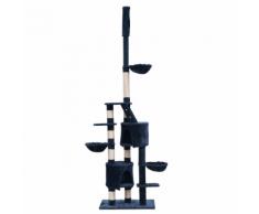 vidaXL Casina ad albero da coccole per gatto XL 230-260 cm Peluche Blu scuro