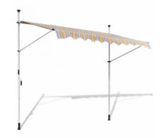 vidaXL Tenda da Sole a Scomparsa 350 cm ad Azionamento Manuale Giallo/Blu