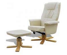 vidaXL Poltrona reclinabile di pelle artificiale con poggiapiedi bianco crema