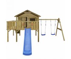 vidaXL Casetta in legno con scala, scivolo, altalene 480x440x294 cm