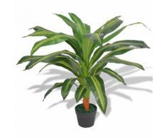 vidaXL Dracena Pianta Artificiale con Vaso 90 cm Verde