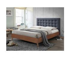 Letto matrimoniale alla francese 140x190 cm in Tessuto grigio e legno - FRANCESCO