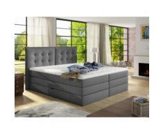 Set letto boxspring con testata + base del letto con contenitore + materasso + topper PLAISIR di PALACIO - tessuto grigio - 180x200 cm