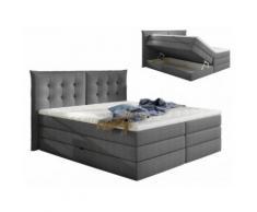 Set letto boxspring con testata + base del letto con contenitore + materasso + topper PLAISIR di PALACIO - tessuto grigio - 160x200 cm