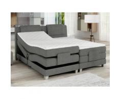Set letto boxspring testata + reti relax elettriche + materasso + topper CASTEL di PALACIO - 2x90x200 cm - Tessuto grigio chiaro