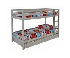Letto a castello 2x90x200 cm con cassetto letto estraibile 90x190 cm in Abete massello Grigio - ANICET