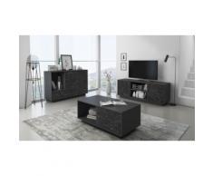 : Mobile porta TV - Doppio / Grigio scuro con marmo nero