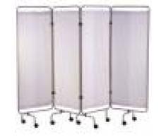 Vincal Paravento a 4 ante con teli bianchi ignifughi in PVC rimovibili e lavabili