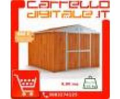 Box in Acciaio Zincato Casetta da Giardino in Lamiera 3.27 x 2.69 m x h2.17 m - 132 KG – 8.80 metri quadri - LEGNO