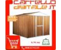 Box in Acciaio Zincato Casetta da Giardino in Lamiera 2.76 x 2.60 m x h2.12 m - 110 KG – 7,2 metri quadri - LEGNO