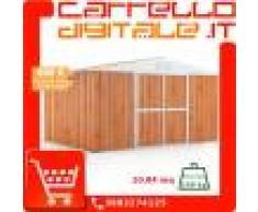 Box in Acciaio Zincato Casetta da Giardino in Lamiera 4.03 x 2.69 m x h2.17 m - 149 KG – 10.84 metri quadri - LEGNO