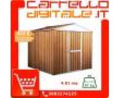 Box in Acciaio Zincato Casetta da Giardino in Lamiera 2.75 x 1.75 m x h2.15 m - 87 KG – 4.81 metri quadri - LEGNO