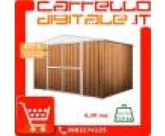 Box in Acciaio Zincato Casetta da Giardino in Lamiera 3.60 x 1.75 m x h2.15 m - 110 KG – 6.30 metri quadri - LEGNO