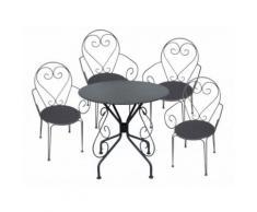 Sala da pranzo da giardino in metallo effetto ferro battuto GUERMANTES: un tavolo e 4 sedie antracite