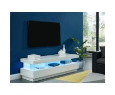Mobile TV con LED 3 cassetti e 3 nicchie in MDF laccato bianco - FABIO
