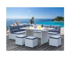 Salotto da giardino angolare in resina intrecciata bianca e vetro temperato: un divano 5 posti, 3 sgabelli e un tavolo - seduta grigia - PALAWAN