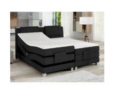 Set letto boxspring testata + reti relax elettriche + materasso + topper CASTEL di PALACIO - 2 x 90 x 200 cm - Tessuto antracite