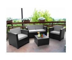 Salotto da giardino in resina stampata Antracite: 2 poltrone, divano 2 posti e tavolino - SOPHIE II