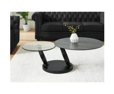 Tavolino con piano girevole in Ceramica effetto marmo e Vetro temperato Nero - JOLINE