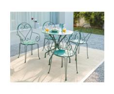 Sala da pranzo da giardino GUERMANTES in metallo effetto ferro battuto: un tavolo e 4 poltrone impilabili