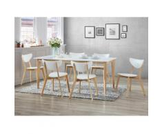 "Set ""Sala da pranzo"": tavolo allungabile + 6 sedie CARINE - Bianco"