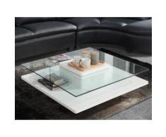 Tavolino quadrato in Vetro temperato e base in MDF bianco - ISANIA
