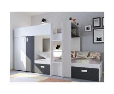 Letto a castello con armadio integrato 2 x 90 x 190 cm Bianco e nero - JULIEN