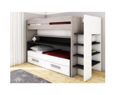 Letto a castello con scomparti, letto e scrivania scorrevoli 90 x 190 o 200 cm in Pino grigio, bianco e antracite - DAVID
