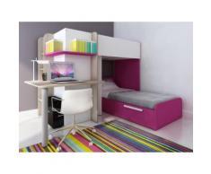 Letto a castello con scrivania integrata 2 x 90 x 190 cm in Pino bianco e rosa - SAMUEL