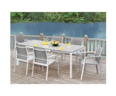 Sala da pranzo da giardino PALAOS in alluminio - Tavolo allungabile 140/200 cm + 6 poltrone - Grigio