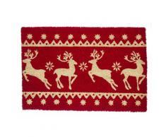 Zerbino festività renne rosso 40x60