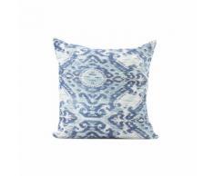 """Cuscino arredo bifaccia disegno """"Geometrie blu"""" bluette"""