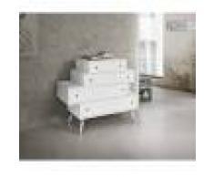 Cassettiera Cm. 110x45 H. 95 Con Cassetti Sfalsati In Abete Bianco Massiccio Con Finitura Spazzolata