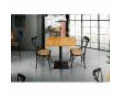 Tavolino Bar Quadrato Con Misura Fissa In Rovere Massiccio E Base In Metallo Nero